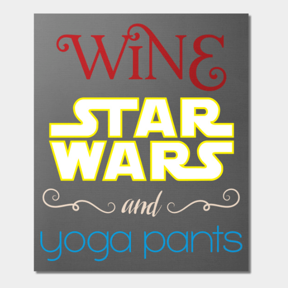 Wine Star Wars and Yoga Pants women's tank tops