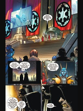 Mas Amedda disavows the Jedi while Vader and Palpatine look on