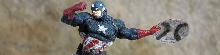 Captain America Trivia header depicting Captain America throwing his iconic shield.