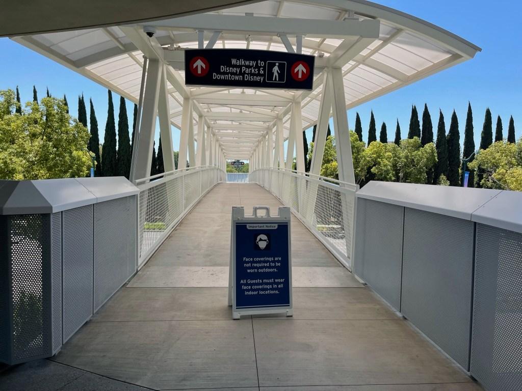 pedestrian walkway from pixar pals parking structure