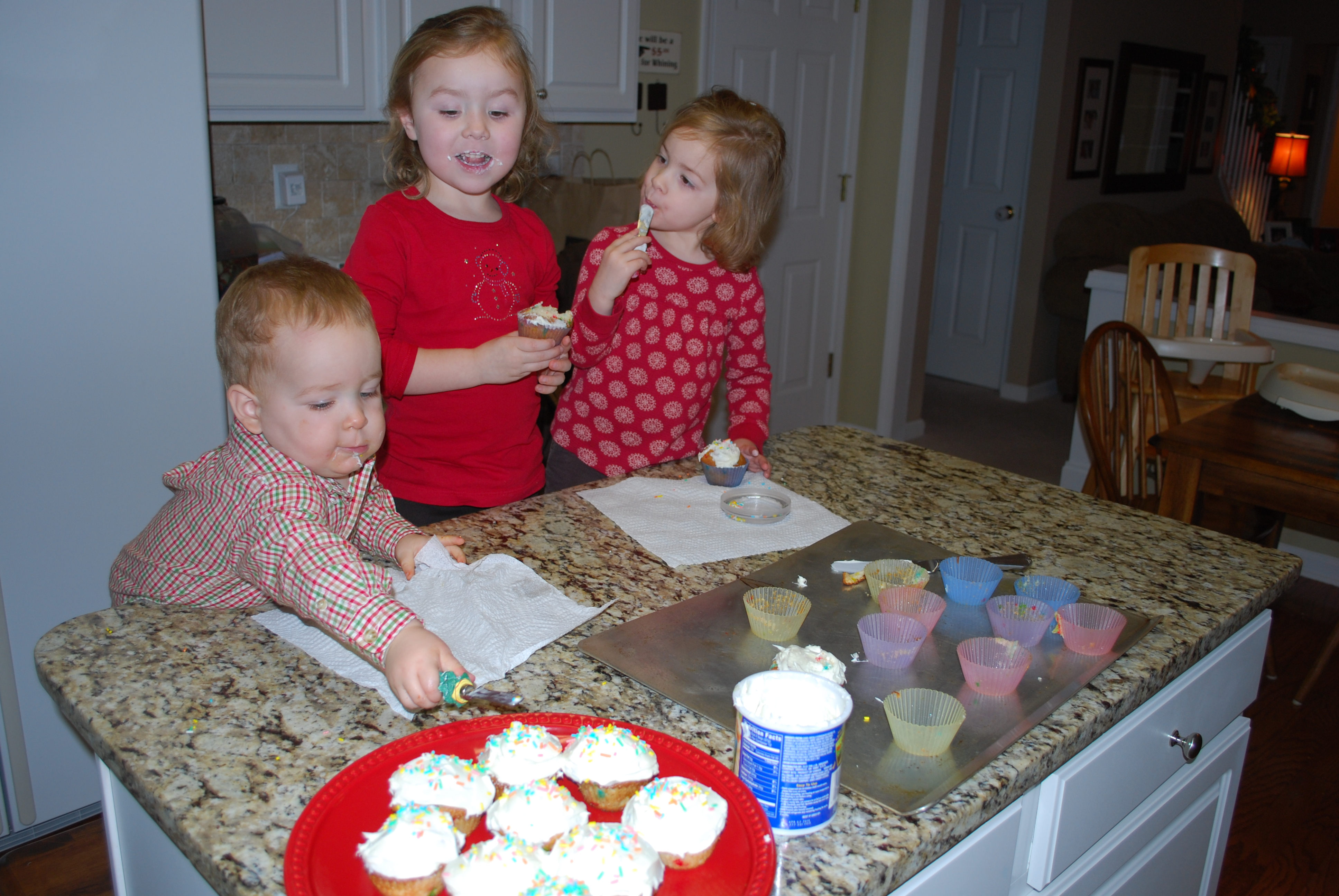 """Baking """"Happy Birthday Jesus"""" cupcakes---another Eve tradition"""