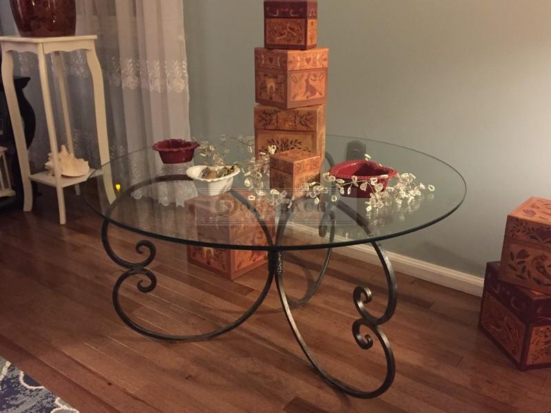 handmade forged iron round glass coffee table 36 inch dornbach studios