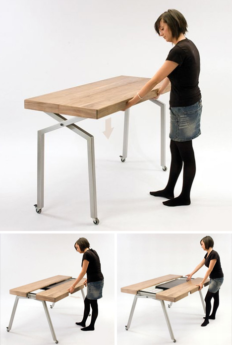 Expandable Dining Table Doubles As Compact Kitchen Island