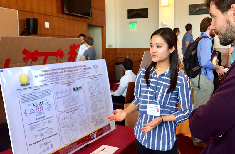 Chemistry major Lorena Hong presents her undergraduate research during the Undergraduate Symposium for Scholarly and Creative Work in April. (Photo: Rhonda Hillbery.)