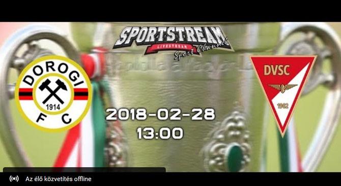 Élőben nézhetjük a Dorog-Debrecen mérkőzést