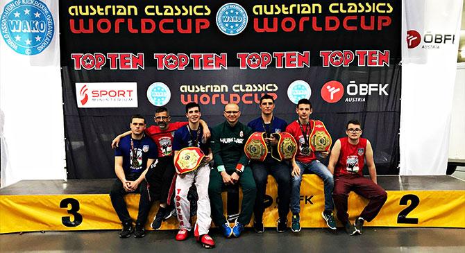 Kimagasló esztergomi eredmények az ausztriai kick-box világkupáról