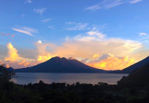 Sunset view form the yoga retreat space at Lake Atitlan Guatemala