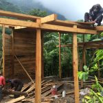 Roof construction in Casa Jardin at Doron Yoga & Zen Center in Guatemala