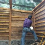 Bamboo to fill spaces between lepaz - wood logs. Eco and beautiful building construction.