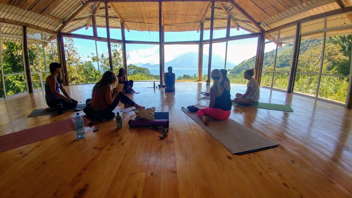 New Years Rejuvenation Yoga Retreat. Yoga Shala - elevated practice space with inspirational views of Lake Atitlan, Guatemala.