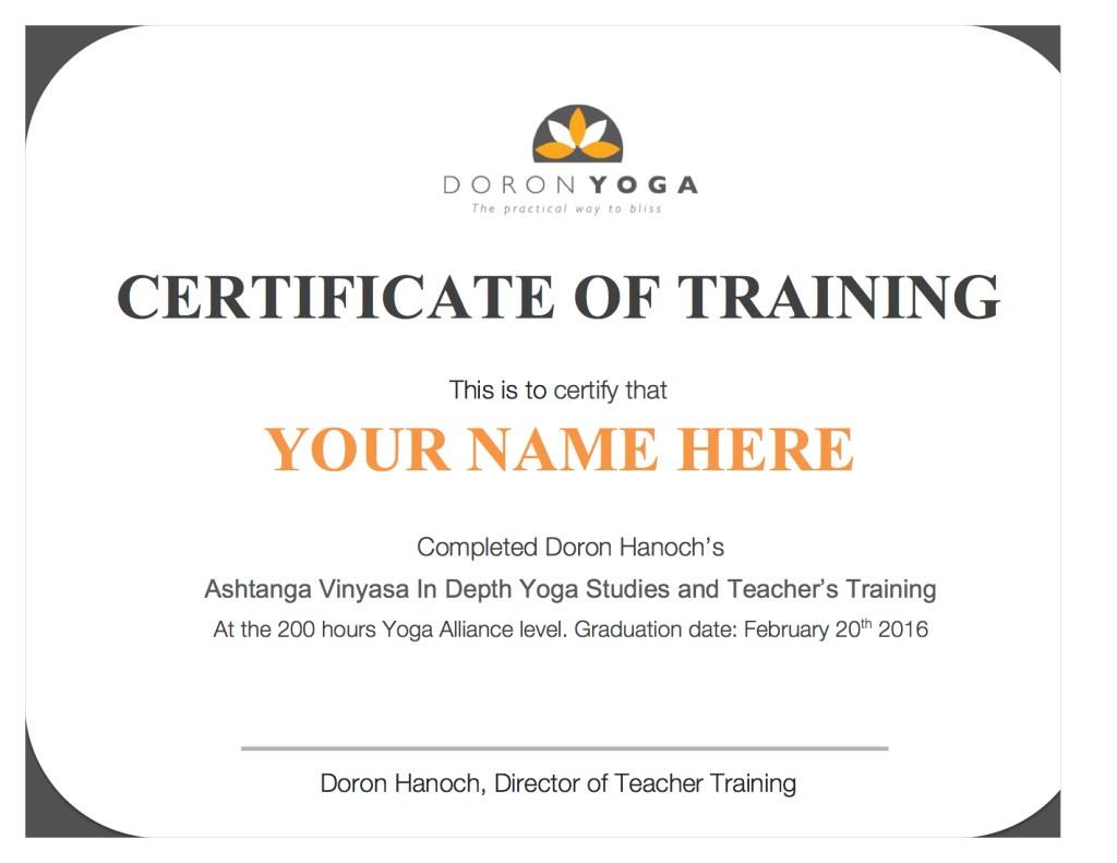 Yoga Alliance approved Teacher Training Certificate