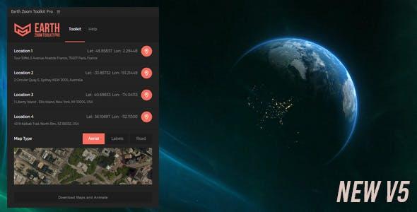 تنزيل برنامج إضافي مجاني Earth Zoom Toolkit Pro تنزيل الخرائط وتحريك المشروع. كل ذلك بنقرة واحدة
