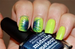 Nail art firewoks technic, Picture Polish Midnite Meteor & Floss Gloss Con limon, artificial lightening indoors.