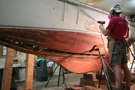 Dorothy-paint-stripping-portside-T.Grove July 2013-dorothysails.com
