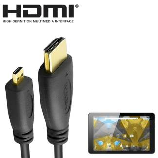 Alba 8 inch Android Tablet PC HDMI Micro to HDMI TV 5m Long Gold Cord Wire Lead Cable