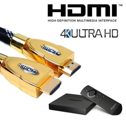 Amazon Fire TV HDMI to HDMI 4K Ultra HD TV 1m Gold Lead Wire Cord Cable