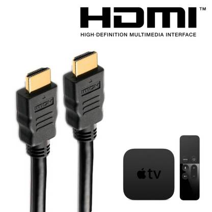 Apple TV (4th & 3rd gen) HDMI to HDMI TV 5m Long with Fuse Gold Lead Wire Cord Cable