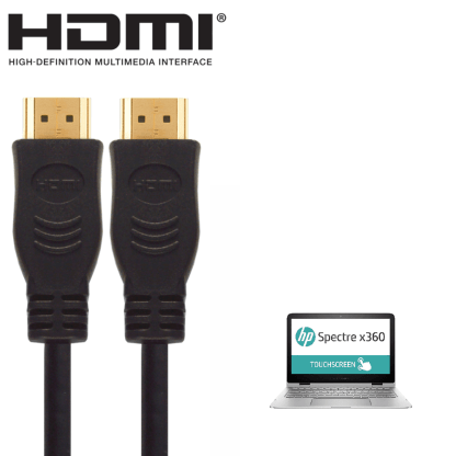 HP Pavilion 15, Stream 13, Spectre X360 Laptop HDMI to HDMI TV 5m Long with Fuse Gold Cord Wire Lead Cable