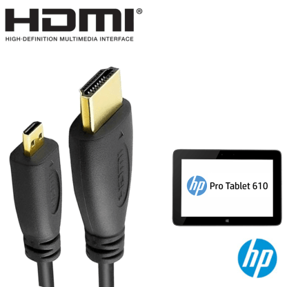 HP Pro Tablet 610 G1 PC HDMI Micro to HDMI TV Monitor 2m Gold Cord Wire Lead Cable