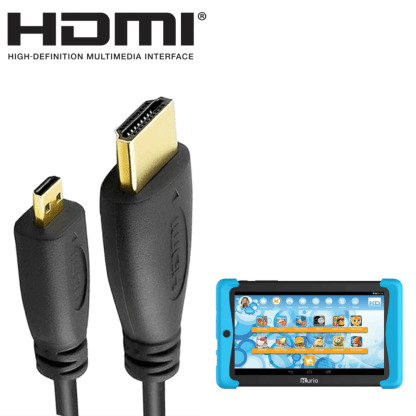 Kurio Tab 2, Smart 9 Windows Tablet PC HDMI Micro to HDMI TV 2m Gold Cord Wire Lead Cable