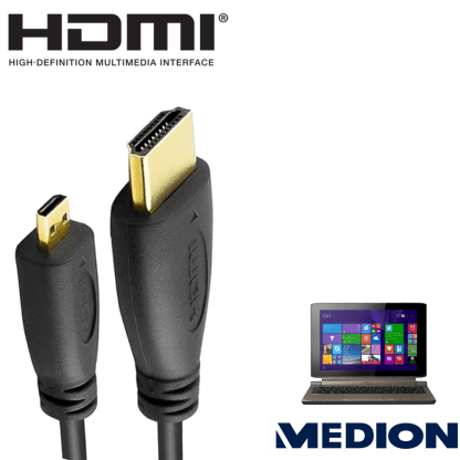 Medion Akoya Laptop PC HDMI Micro to HDMI TV Monitor 2m Gold Cord Wire Lead Cable