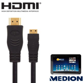 """Medion Lifetab 10.1"""" Android Tablet PC HDMI Mini to HDMI TV 5m Gold Cord Wire Lead Cable"""
