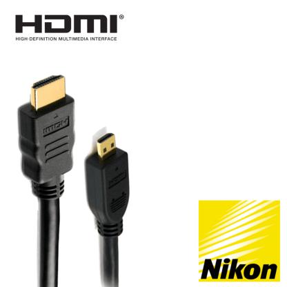 Nikon Coolpix P610, D750, AW130 Camera HDMI Micro TV Monitor 2m Gold Wire Lead Cord Cable