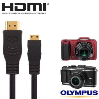 Olympus E-5, E-P3, SZ-15, VH-520 Camera HDMI Mini TV Monitor 5m Long Gold Wire Lead Cord Cable