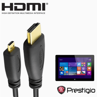 Prestigio Multipad Visconte 2, 3, 7 Ultra Duo HDMI Micro to HDMI TV Monitor 2m Gold Cord Wire Lead Cable