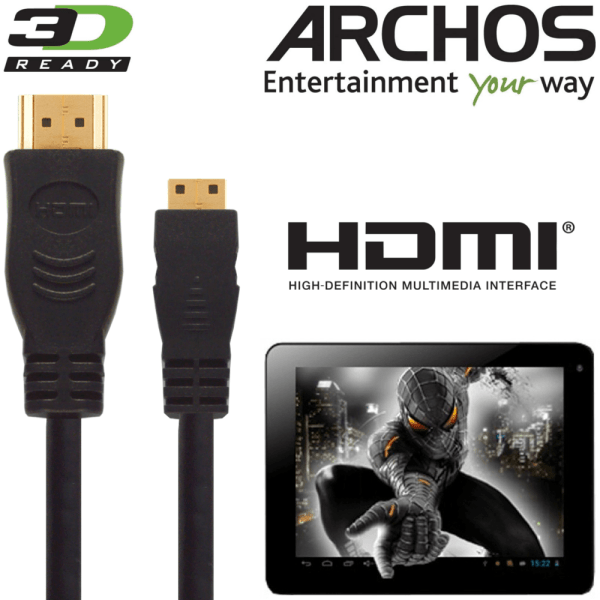 Archos 79, 101b Platinum, Cobalt, ChildPad Tablet PC HDMI Mini to HDMI TV 3m Gold Cord Wire Lead Cable