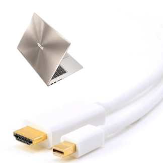 Asus Zenbook UX303LA Laptop Mini DisplayPort (DP) / Thunderbolt to HDMI TV 1.8m Gold Cord Wire Lead Cable