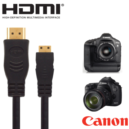 Canon Powershot SX60, SX510, SX520 HS, EOS 7D Mark II Camera HDMI Mini TV 5m Long Gold Cord Wire Lead Cable