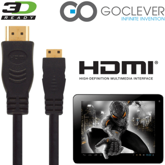 GoClever Insignia 1010 Business, Tab A73 Tablet PC HDMI Mini to HDMI TV 5m Long Gold Cord Wire Lead Cable