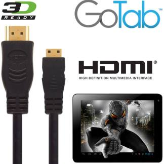 GoTab X, 7, 9 Android Tablet PC HDMI Mini to HDMI TV 5m Long Gold Cord Wire Lead Cable