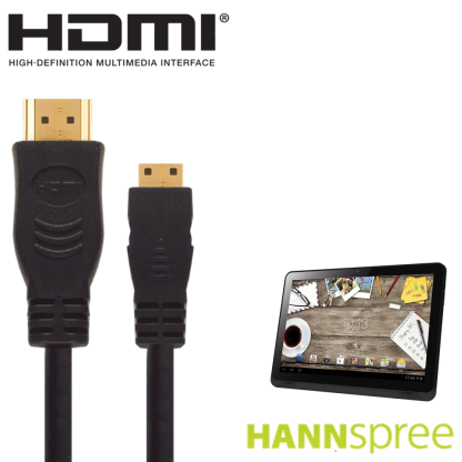Hannspree Hannspad 10.1 T74R, T74B, T71W Android Tablet PC HDMI Mini to HDMI TV 2.5m Gold Cord Wire Lead Cable