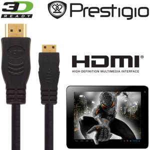 Prestigio Multipad 4 Diamond 10.1 3G Android Tablet PC HDMI Mini to HDMI TV 2.5m Gold Cord Wire Lead Cable
