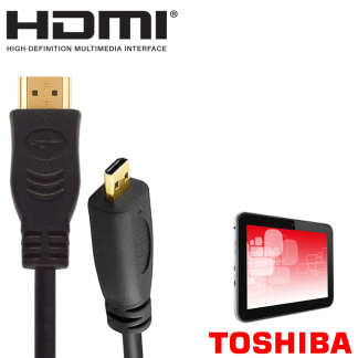 Toshiba Encore 2, Excite Tablet HDMI Micro to HDMI TV Monitor 2m Gold Cord Wire Lead Cable