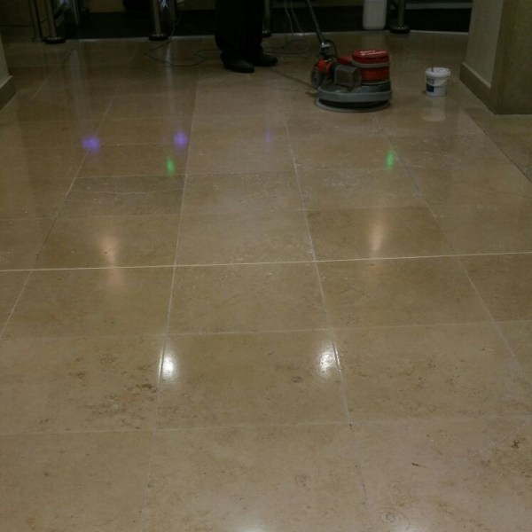 Travertine Tiled Floor During Polishing Nationwide Building Society Bournemouth