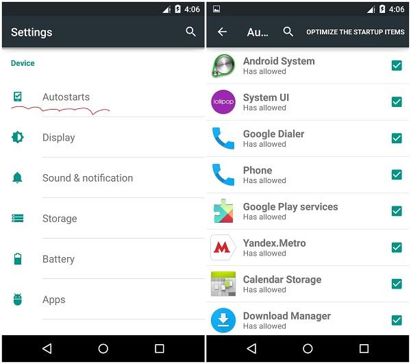 Nexus 5 Autostart Menu mod