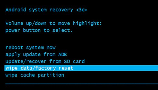 perform a factory reset on android