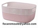 cesta de mimbre de doble color