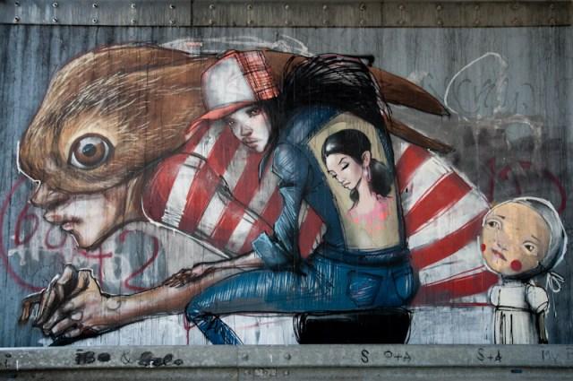 Graffiti von Herakut - Leunabrücke Frankfurt - Höchst
