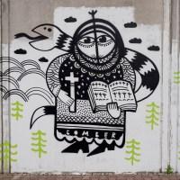 Peng & Bomber an der Mauer der ehemaligen JVA in Höchst