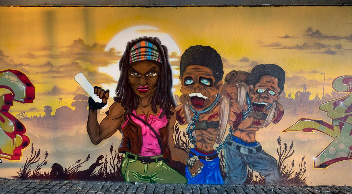 Frankfurt - Graffiti unter der Friedensbrücke – Renegades (04/2017) Michonne, 2 Zombies und TWD