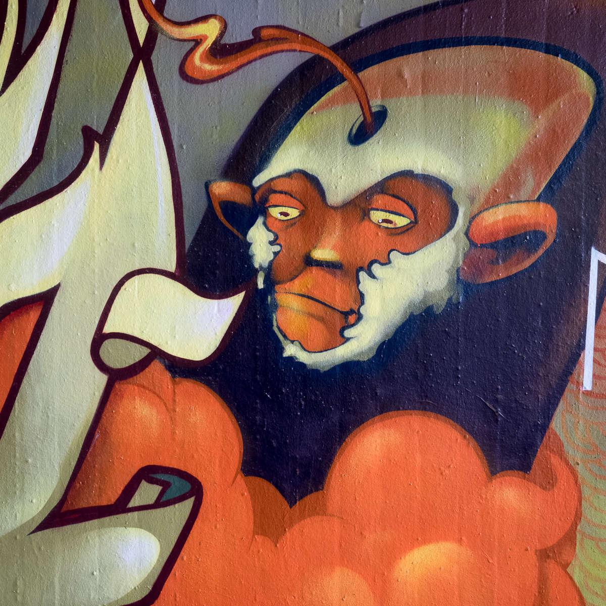 Graffiti in Wiesbaden - Monkey, Pixel und Co. an der Gibb/Tannhäuserstraße (11/2017)