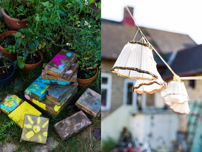 Lamp shades on string lights in the garden