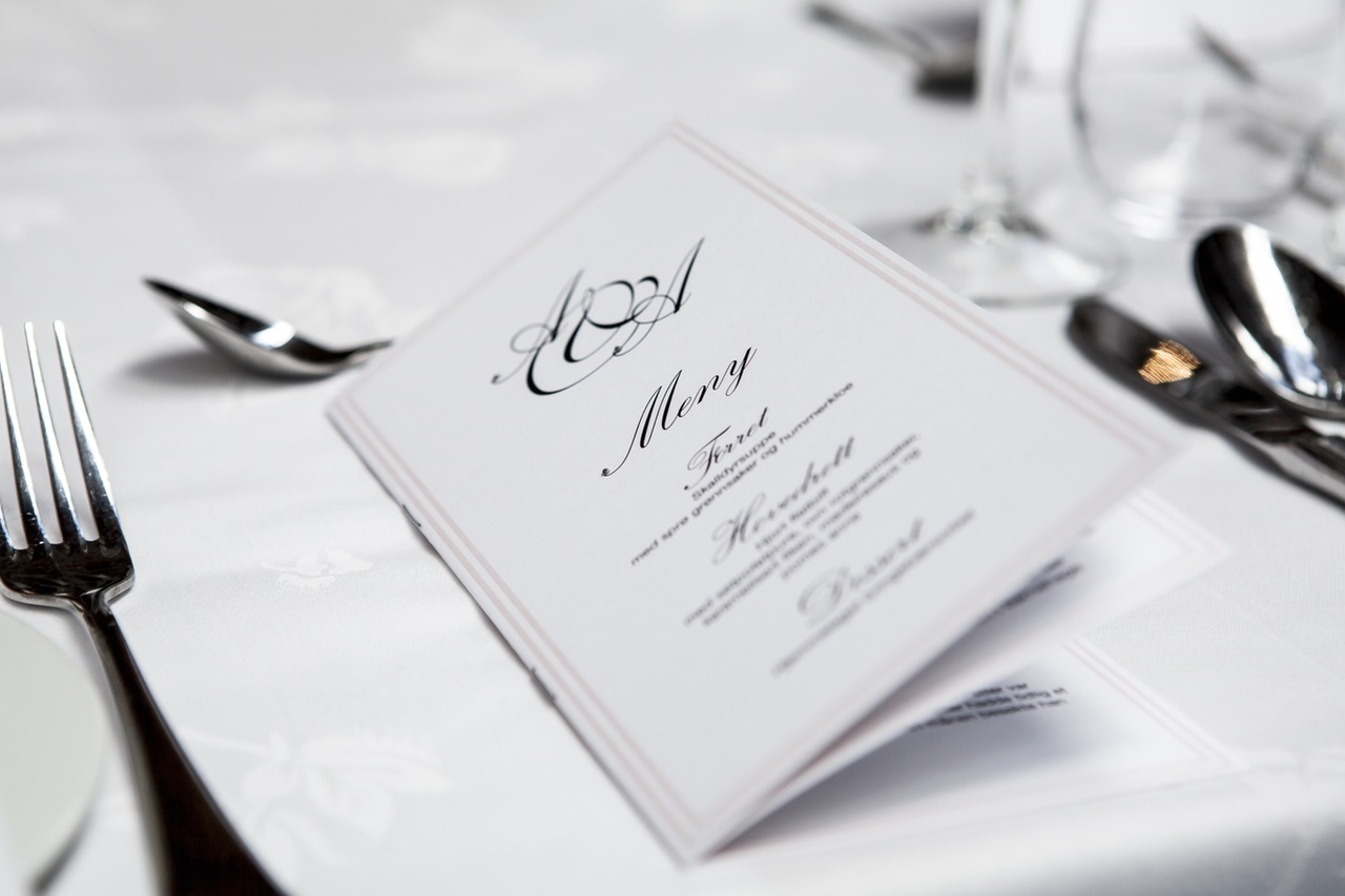 Thanksgiving dinner menu placed on the formal table