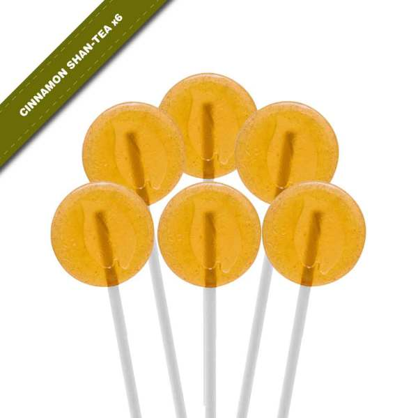 6-pack view of Dosha Pops' Cinnamon Shan-Tea lollipops