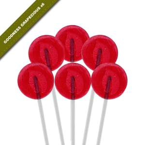 6-pack view of Dosha Pops' Goodness Grapecious lollipops
