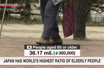 জাপানে বয়োজ্যেষ্ঠ ব্যক্তিদের সর্বোচ্চ হার